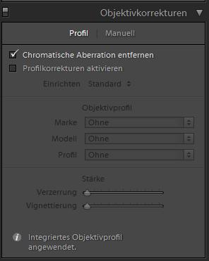 Adobe Lightroom und die eingebetteten Objektiv-Profile